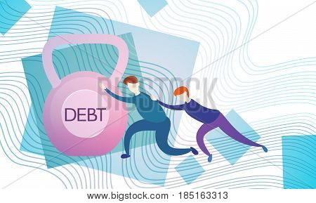Business Man Push Weight Credit Debt Finance Crisis Concept Flat Vector Illustration