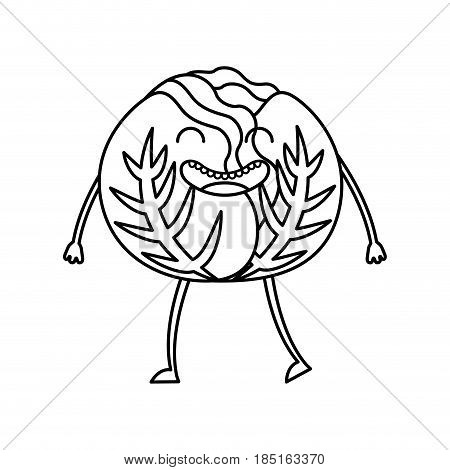 cabbage fresh vegetable kawaii character vector illustration design