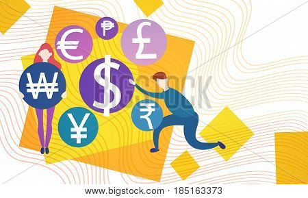 Business People Currency Sign Money Exchange Concept Flat Vector Illustration