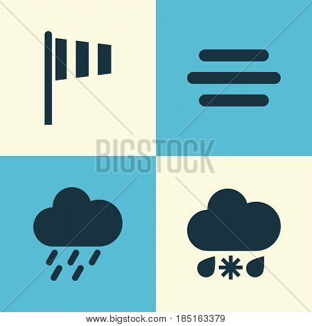 Meteorology Icons Set. Collection Of Flag, Haze, Douche And Other Elements. Also Includes Symbols Such As Rain, Fog, Vane.