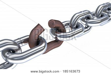 Chain and broken corrosion link. 3d illustration