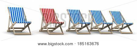 Five loungers blue and one red. 3d illustration