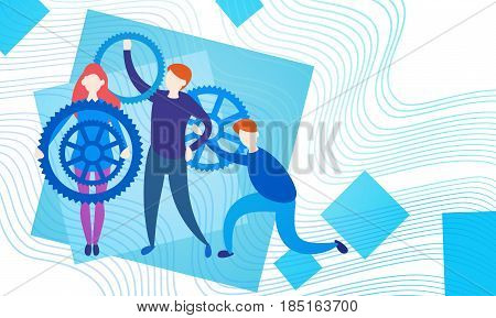 Business People Group With Cog Wheel Team Brainstorming Process Flat Vector Illustration
