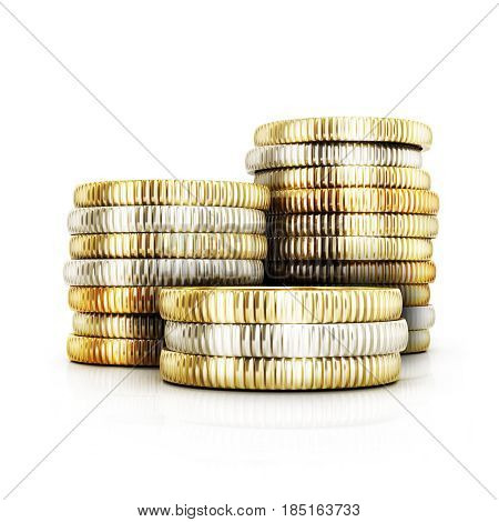 Many gold coints on white background. 3d illustration