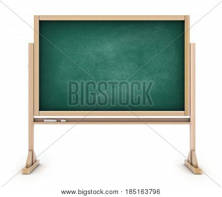 School blackboard empty chalkboard green. 3d illustration