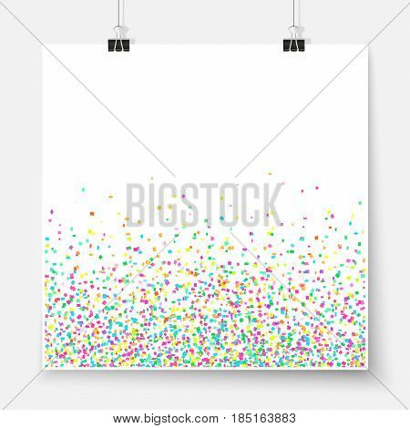 Confetti Poster Binder Clip Holiday Celebration Mock Up Colorful 3