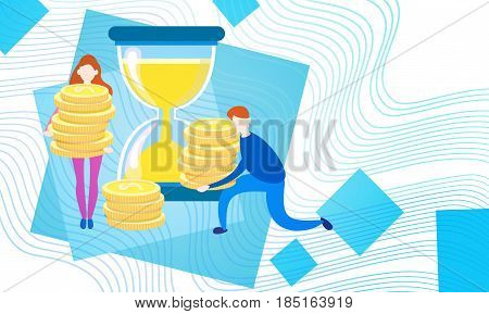 Business People With Sand Watch Coin Money Currency Rich Businesspeople Finance Success Flat Vector Illustration