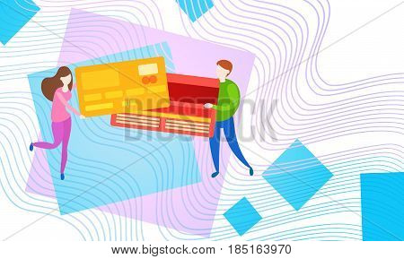 People Hold Credit Card Online Payment Service Mobile Transaction Vector Illustration
