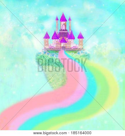 Magic Fairy Tale Castle in clouds , raster