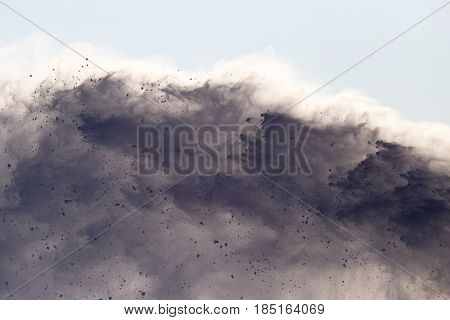 Background of snow avalanche in nature in winter