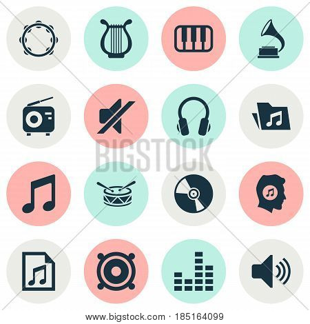 Audio Icons Set. Collection Of Tuner, Barrel, Lyre And Other Elements. Also Includes Symbols Such As Controlling, Tambourine, Earphone.