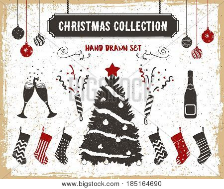 Hand drawn textured vintage Christmas icons set with Christmas tree stockings champagne glasses balls and flappers vector illustrations.