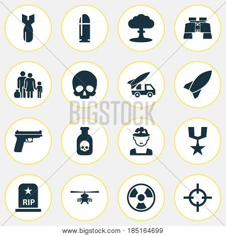 Battle Icons Set. Collection Of Dangerous, Cranium, Chopper And Other Elements. Also Includes Symbols Such As Glass, Slug, Weapons.