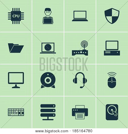 Laptop Icons Set. Collection Of Defense, Database, Hdd And Other Elements. Also Includes Symbols Such As Earphone, Man, Camera.