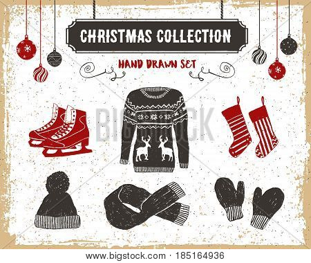 Hand drawn textured vintage Christmas icons set with sweater ice skates Christmas stockings scarf knitted cap and mittens vector illustrations.