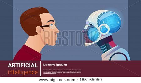 Artificial Intelligence Man With Modern Robot Brain Technology Flat Vector Illustration