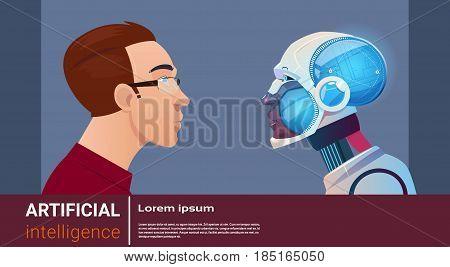 Artificial Intelligence Man With Modern Robot Brain Technology Flat Vector Illustration