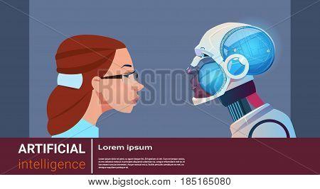 Artificial Intelligence Woman With Modern Robot Brain Technology Flat Vector Illustration