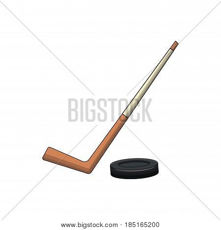 hockey stick and puck sport vector illustration