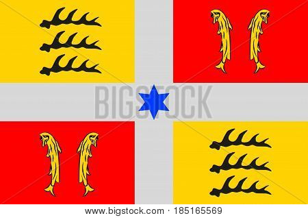 Flag of Montbeliard is a city in the Doubs department in the Bourgogne-Franche-Comte region in eastern France. Vector illustration