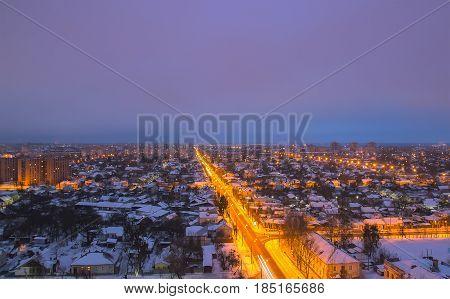 Close up view of winter landscape edge city