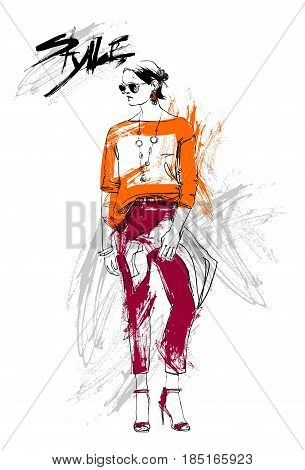 Shopping Sale Fashion Collection Style Model Girl Wear Elegant Clothes Discount Sketch Vector Illustration