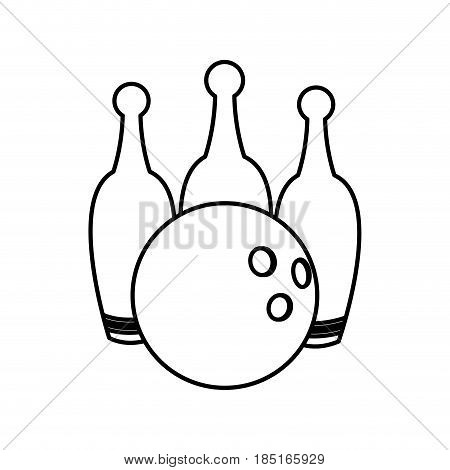 bowling ball and pin game equipment line vector illustration