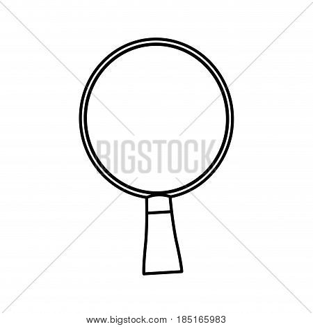 wooden racket ping pong game line vector illustration