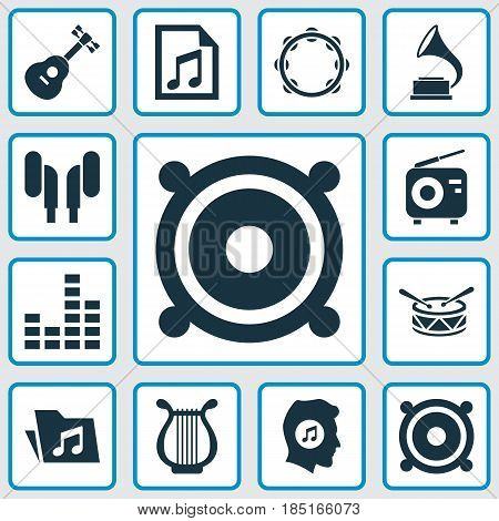 Music Icons Set. Collection Of File, Timbrel, Barrel And Other Elements. Also Includes Symbols Such As Barrel, Radio, Phonograph.