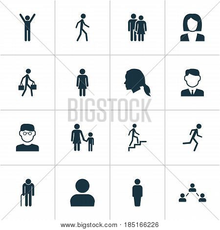 Human Icons Set. Collection Of Running, Family, Member And Other Elements. Also Includes Symbols Such As Family, Social, Head.