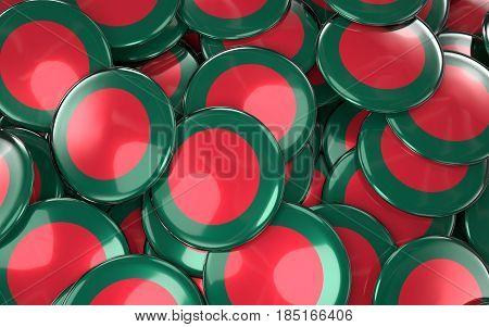 Bangladesh Badges Background - Pile Of Bangladeshi Flag Buttons.