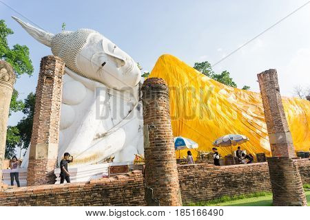 ANGTHONG, THAILAND - APRIL 14, 2017 : Wat Khun Inthapramun is ancient temple,The largest and longest reclining Buddha statue in Thailand.