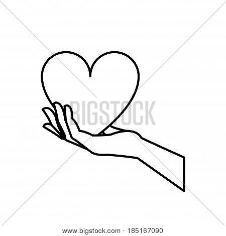hand holding heart blood donation symbol line vector illustration