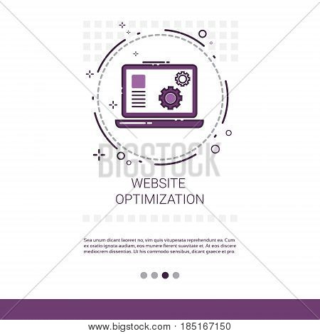 Web Optimization Software Development Computer Programming Device Technology Banner With Copy Space Vector Illustration
