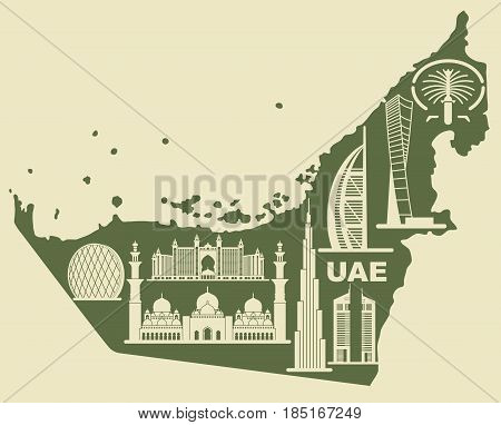 Map of the UAE with silhouettes of buildings of Dubai