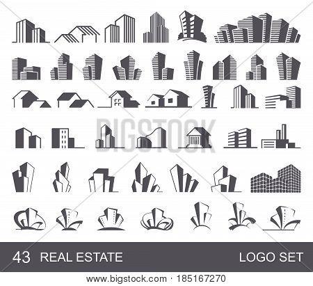 Real Estate Logo Set .Creative House Logo Collection . Abstract Buildings Logo Set