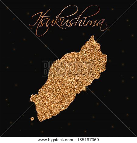 Itsukushima Map Filled With Golden Glitter. Luxurious Design Element, Vector Illustration.