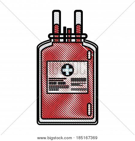 drawing plastic bag blood donate health care vector illustration