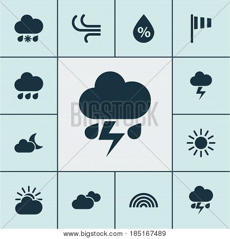 Climate Icons Set. Collection Of Colors, Wet, Weather And Other Elements. Also Includes Symbols Such As Vane, Rainbow, Lightning.