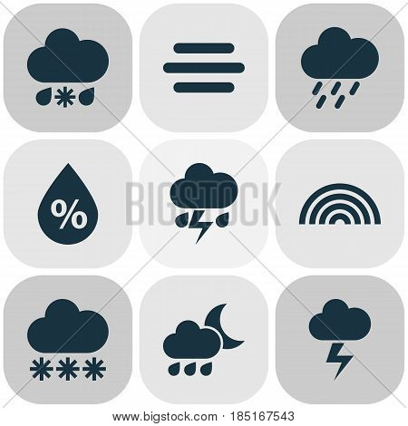Meteorology Icons Set. Collection Of Wet, Nightly, Colors And Other Elements. Also Includes Symbols Such As Cloud, Colors, Moisture.