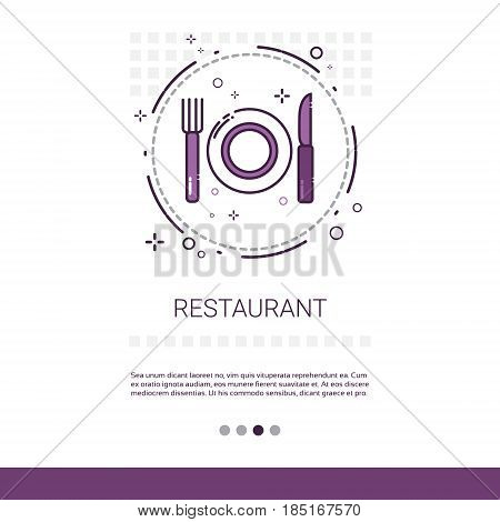 Restaurant Table Dish Food Service Banner With Copy Space Vector Illustration