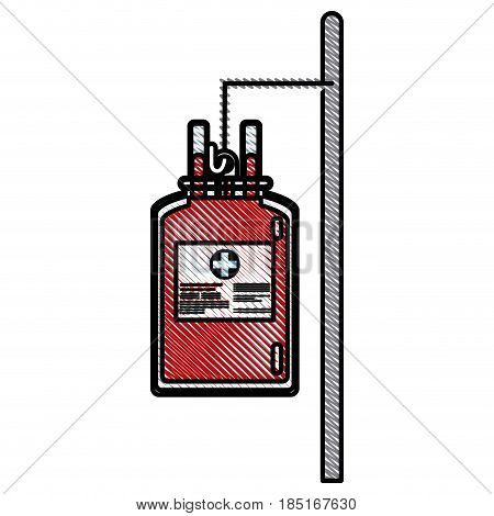drawing bag blood hanging trasnfusion donation vector illusration