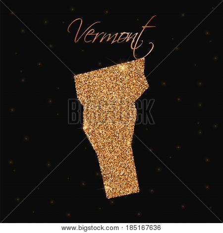 Vermont State Map Filled With Golden Glitter. Luxurious Design Element, Vector Illustration.