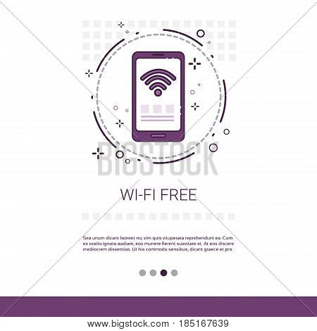 Wifi Signal Free Wireless Connection Banner With Copy Space Vector Illustration