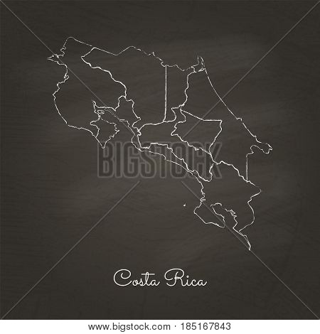 Costa Rica Region Map: Hand Drawn With White Chalk On School Blackboard Texture. Detailed Map Of Cos
