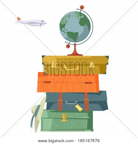 Stack of suitcases and globe. Travel concept. Vector illustration