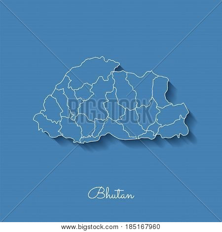 Bhutan Region Map: Blue With White Outline And Shadow On Blue Background. Detailed Map Of Bhutan Reg