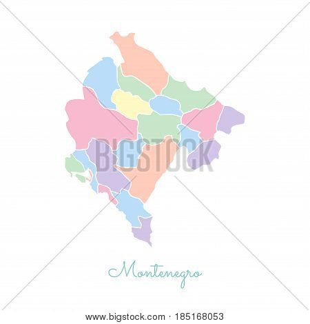 Montenegro Region Map: Colorful With White Outline. Detailed Map Of Montenegro Regions. Vector Illus