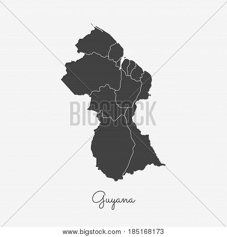 Guyana Region Map: Grey Outline On White Background. Detailed Map Of Guyana Regions. Vector Illustra