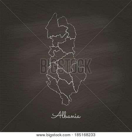 Albania Region Map: Hand Drawn With White Chalk On School Blackboard Texture. Detailed Map Of Albani